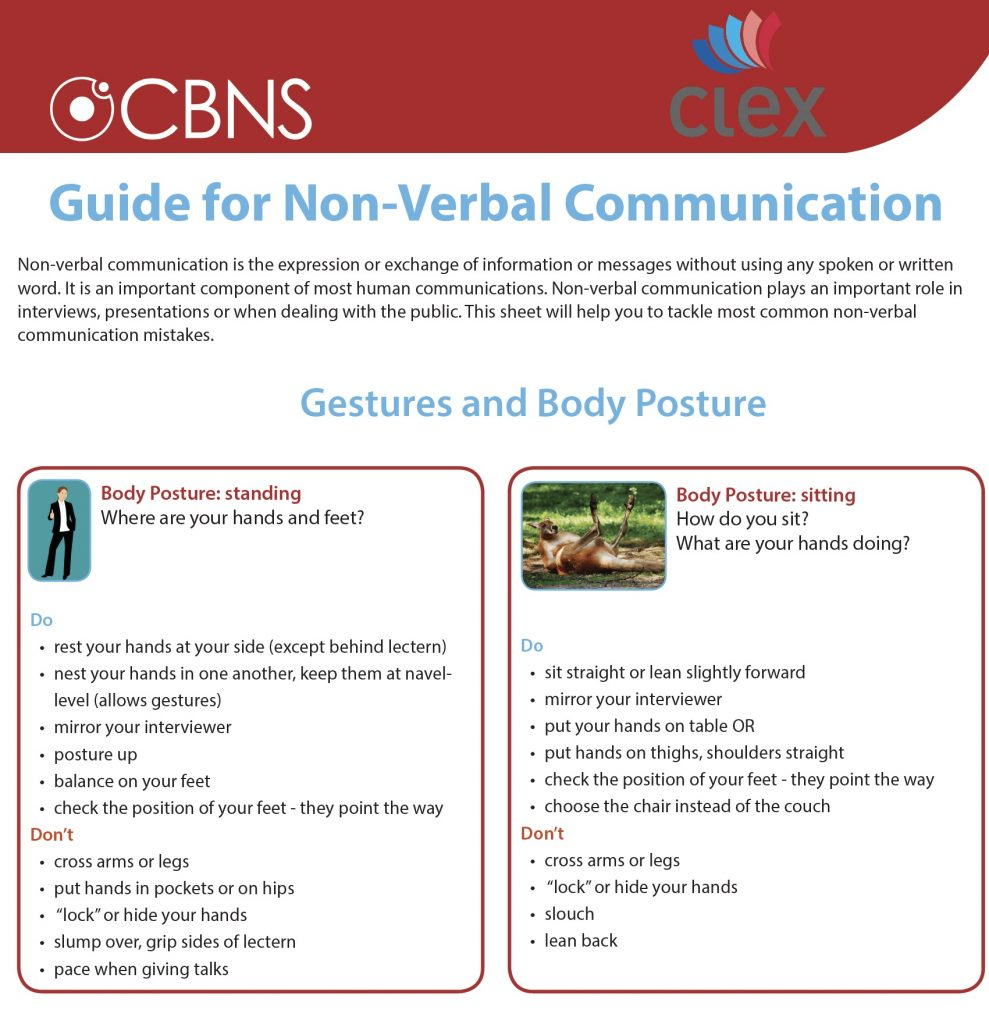 CBNS guide for non-verbal communications
